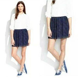 Madewell Navy Polka Dot Pleated Chiffon Mini Skirt